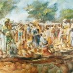 Wallace Hulley Official Site - Market scene - Oil on Canvas - Copyright Wallace Hulley